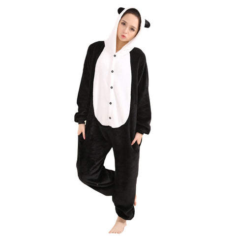 Afoxsos Women's Cosplay Flannel Anime Cartoon Onesie Adult Pajamas Panda