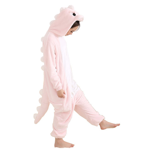 Afoxsos Women's Cosplay Flannel Anime Cartoon Onesie Adult Pajamas Pink Dinosaur