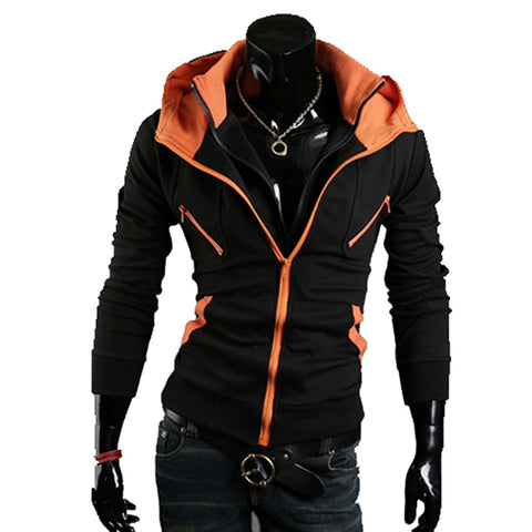 Afoxsos Men's Double Zipper Cotton Slim Fit Hoodie Jacket