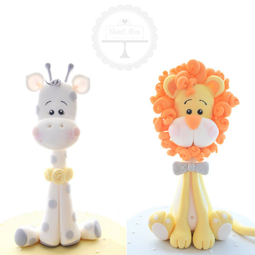 BUNDLE:  Baby Giraffe + Baby Lion Cake Toppers - Instant Download