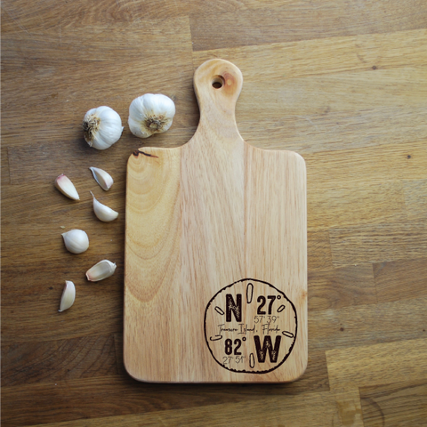 Custom Engraved Cutting Board - Sand Dollar Coordinates