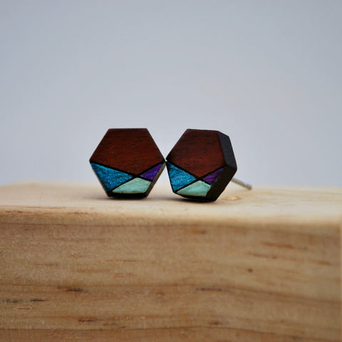 Purple and Blue Geometric Blood Wood Stud