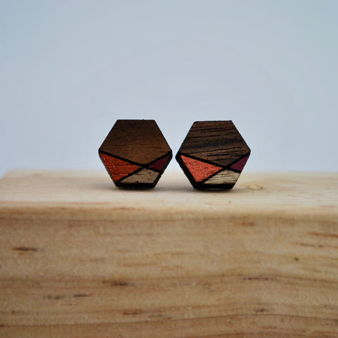Copper and Gold Geometric Walnut Wood Stud