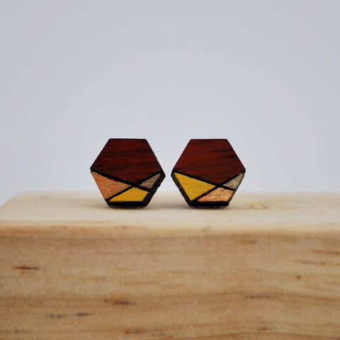 Copper and Gold Geometric Blood Wood Stud