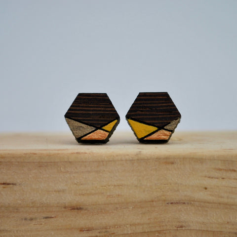 Copper and Gold Geometric Wenge Wood Stud
