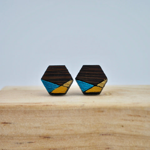 Blue and Gold Geometric Wenge Wood Stud