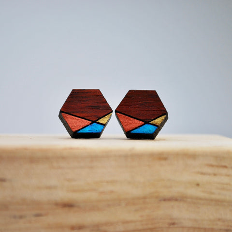 Copper and Blue Geometric Blood Wood Stud