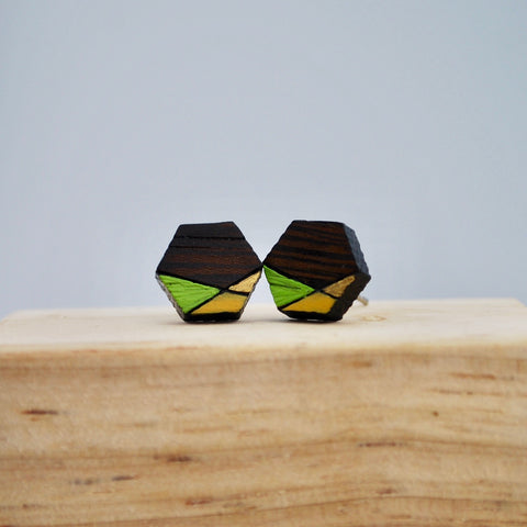 Green Geometric Wenge Wood Stud