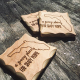 A Sunny Place for Shady People Wood Coaster Set