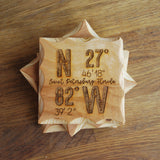 Custom Coordinates Wood Coaster Set