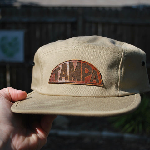 Khaki - Leather Patch Hat - Choose Your Patch