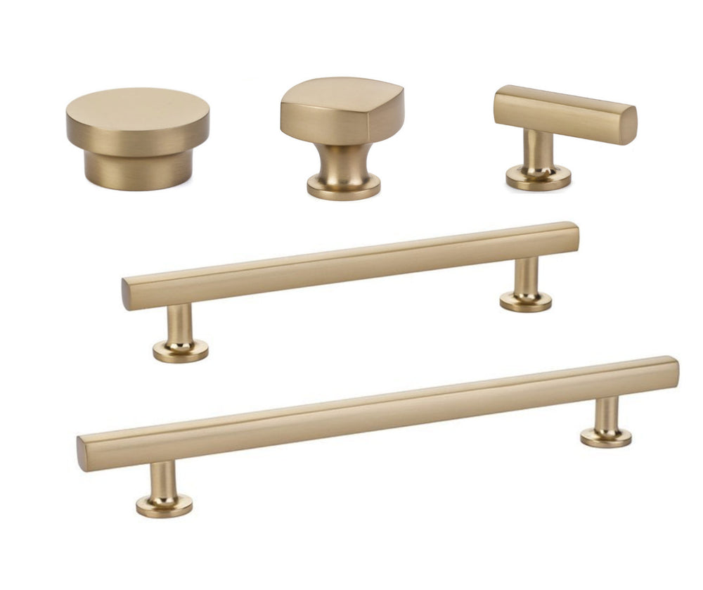 Satin Brass modern geo drawer handles