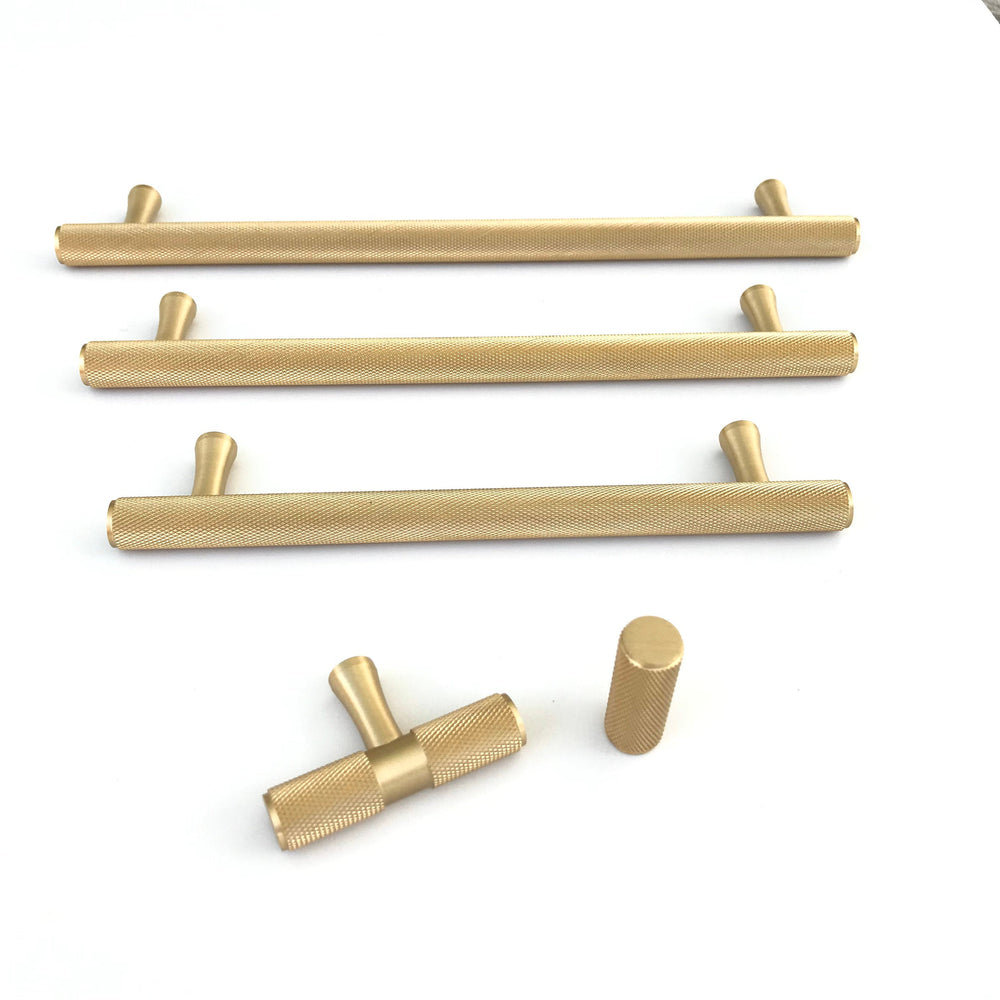 knurled brass knobs and pulls