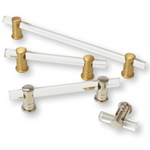 solid brass and lucite acrylic knobs and pulls cabinet hardware