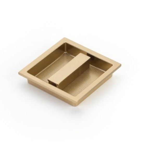 Square Knurled Recessed Satin Brass Drawer Pull