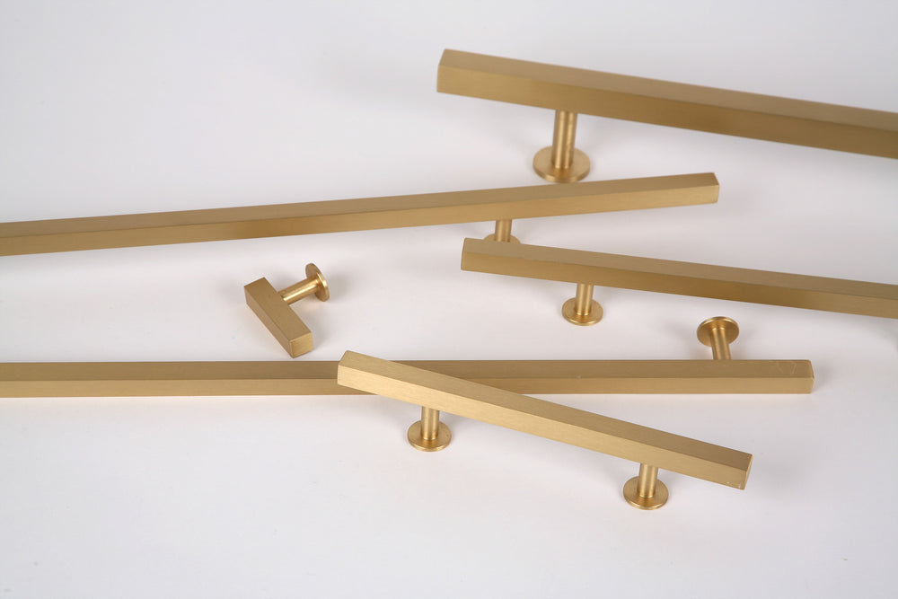 "Lew's Hardware 31-108 Bar Series Brass Cabinet Handle,  10"" Centers, 14"" Length - Brass Cabinet Hardware"