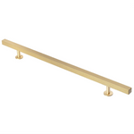 "Lew's Hardware 31-108 Bar Brushed Brass Cabinet Handle,  10"" Centers, 14"" Length - Brass Cabinet Hardware"