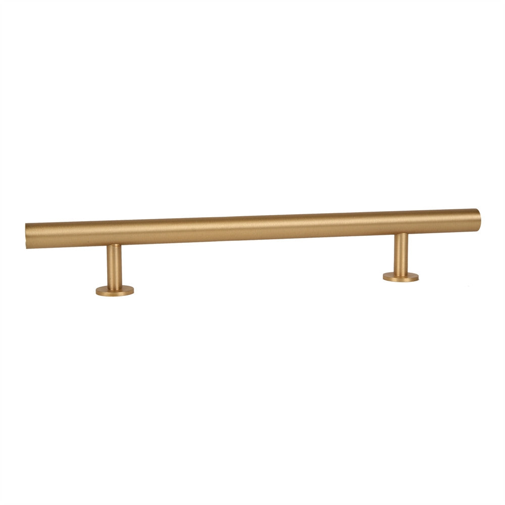 "Lew's Hardware 14"" Round Bar Refrigerator Handle, 31-118 in Brushed Brass - Brass Cabinet Hardware"