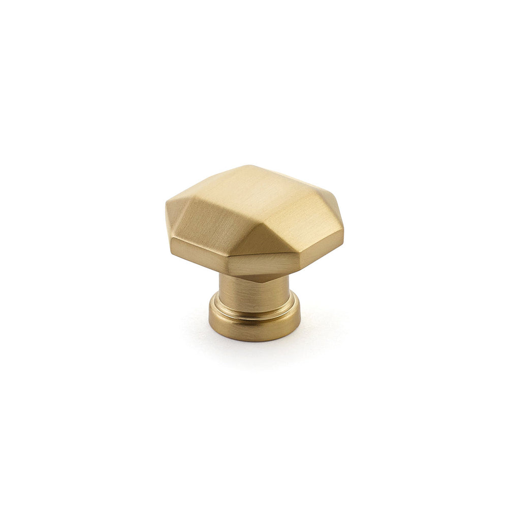Menlo Park Brass Cabinet Faceted Drawer Knob - Kitchen Drawer Handle - Brass Cabinet Hardware