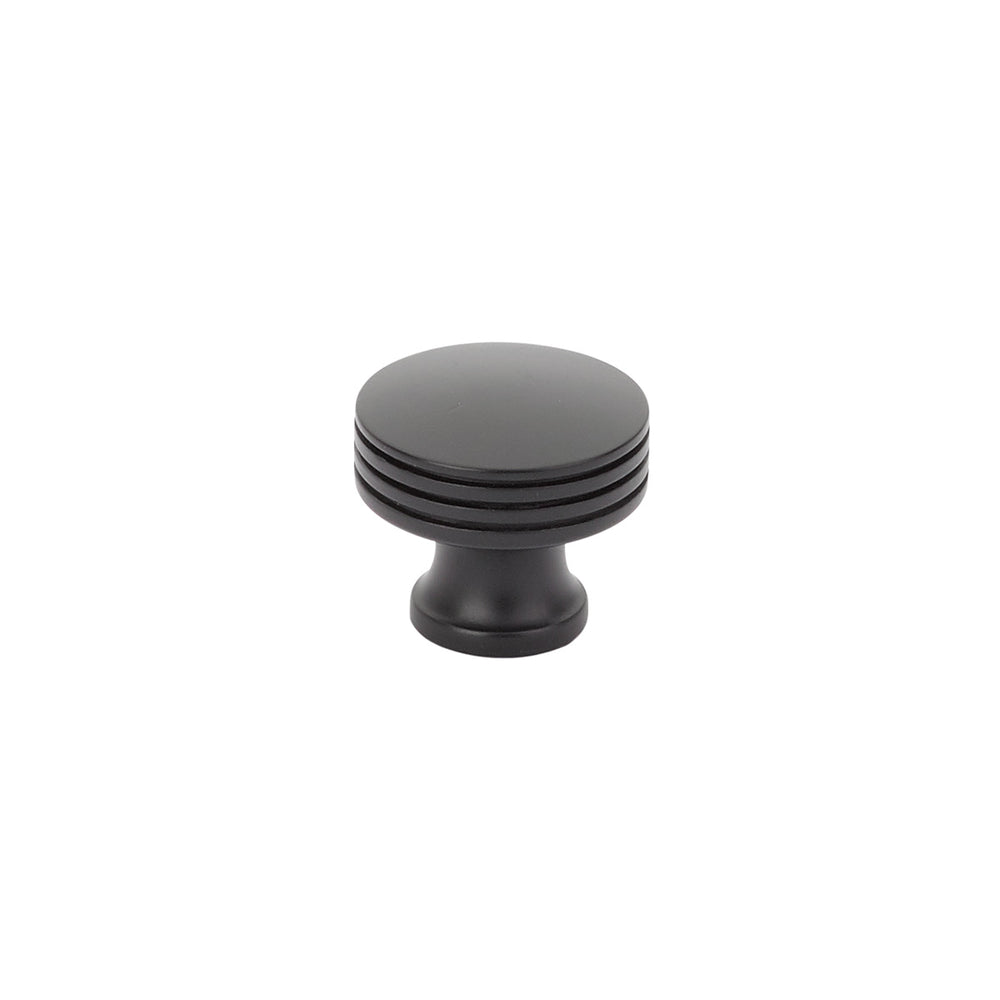 Menlo Park Black Cabinet Round Drawer Knob - Kitchen Handle - Brass Cabinet Hardware