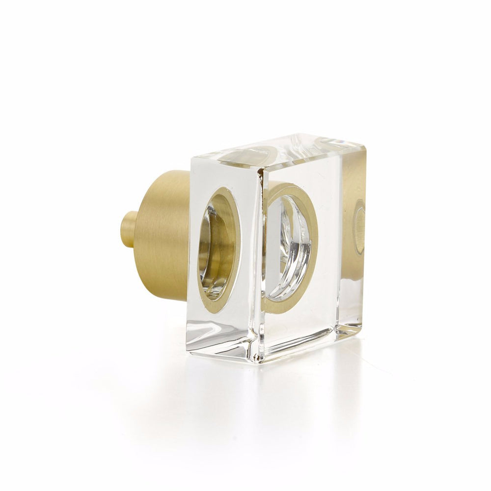 "Satin Brass City Lights, Square Glass Knob, 1-1/4"" - Brass Cabinet Hardware"