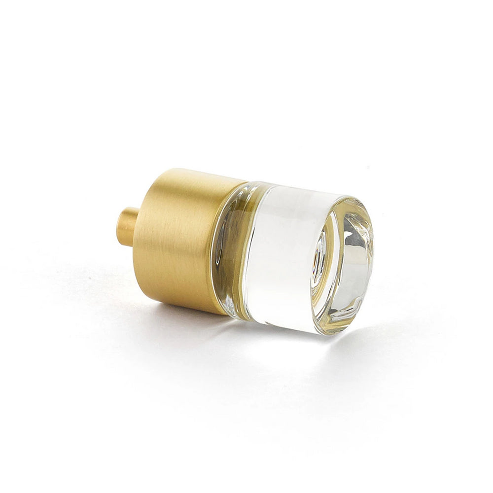 "Satin Brass City Lights, Cylinder Glass Knob, 7/8"" dia - Brass Cabinet Hardware"