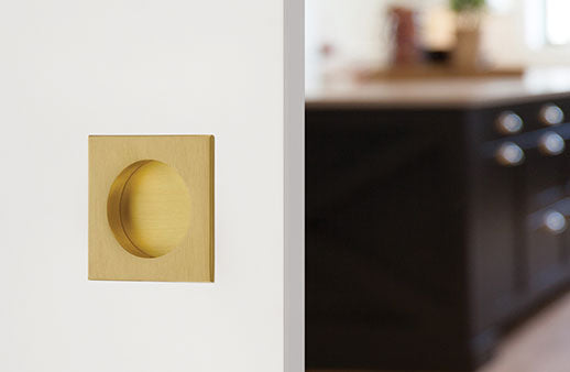 "Square Flush Solid Brass Recess Door Pull 2-1/2"" in Matte Black - Brass Cabinet Hardware"