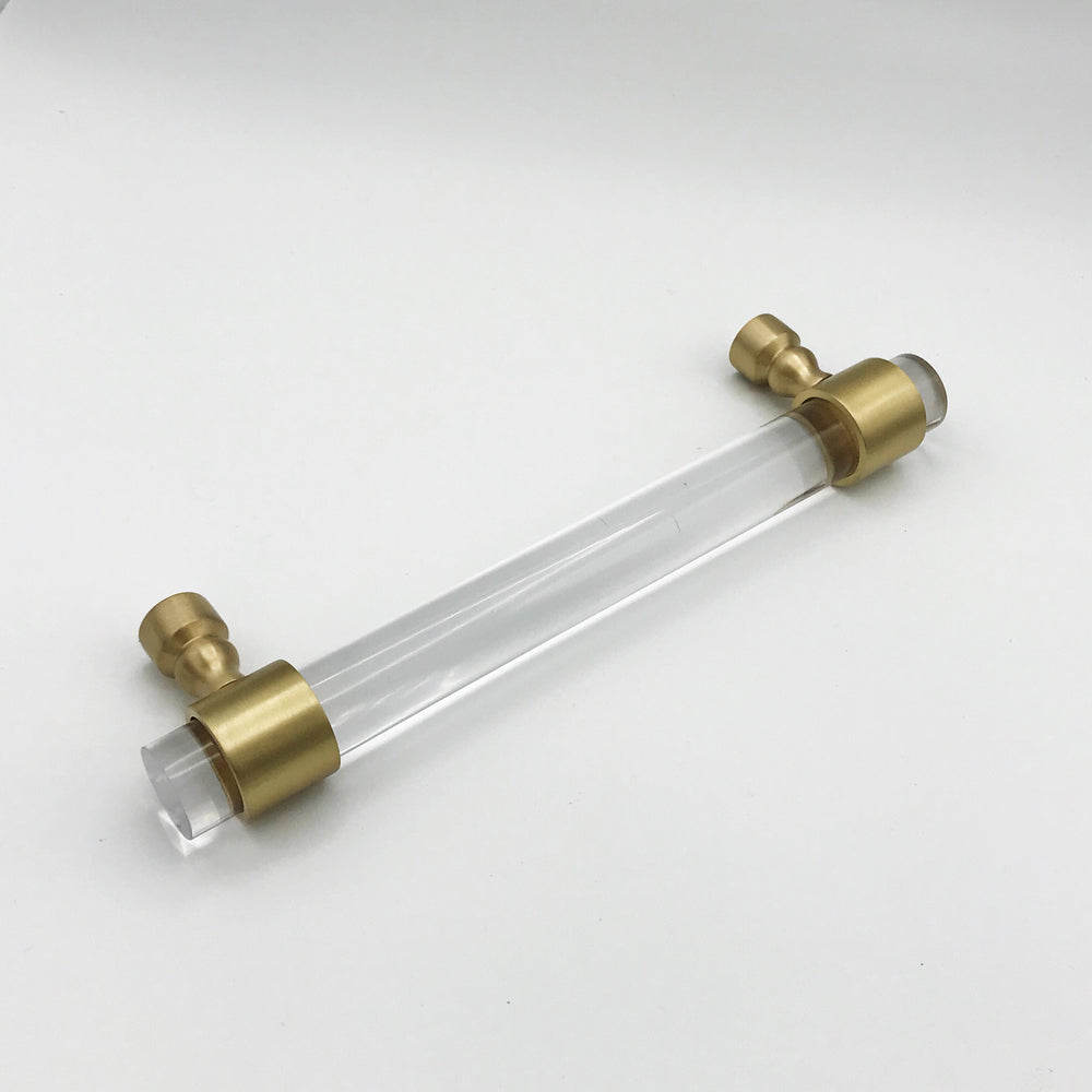 Satin Brass and Lucite Appliance Handle in Various Sizes - Brass Cabinet Hardware