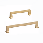 Art Deco Alexander Brass Cabinet Pulls in Satin Brass