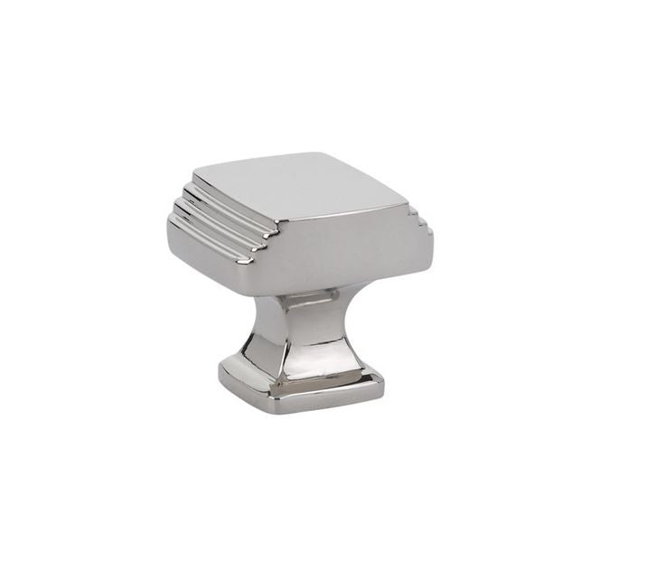 "Polished Nickel Art Deco 1-1/4"" Square Cabinet Knob"