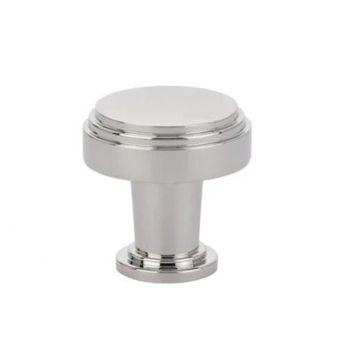 "Polished Nickel Art Deco Round ""Newport"" Cabinet Knob - Brass Cabinet Hardware"