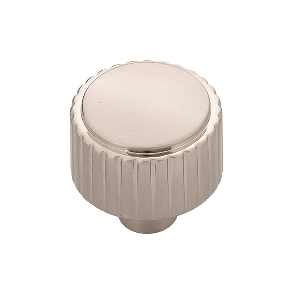 "Texture ""Groove"" Polished Nickel Round Knob - Brass Cabinet Hardware"