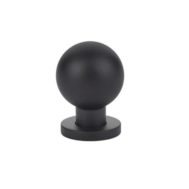 Luxe Contemporary Matte Black Round Ball Knob - Brass Cabinet Hardware
