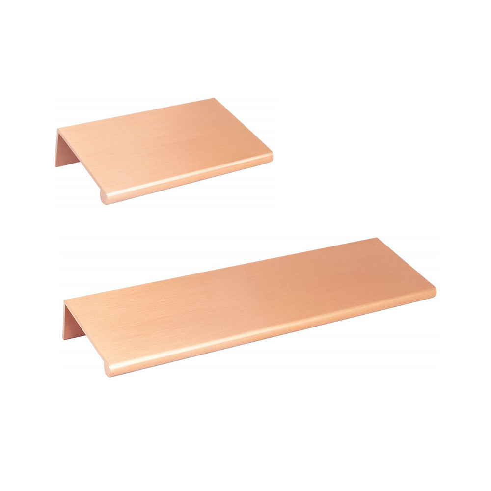 "Brushed Copper ""Bond"" Tab Edge Finger Drawer Pulls in Various Sizes"