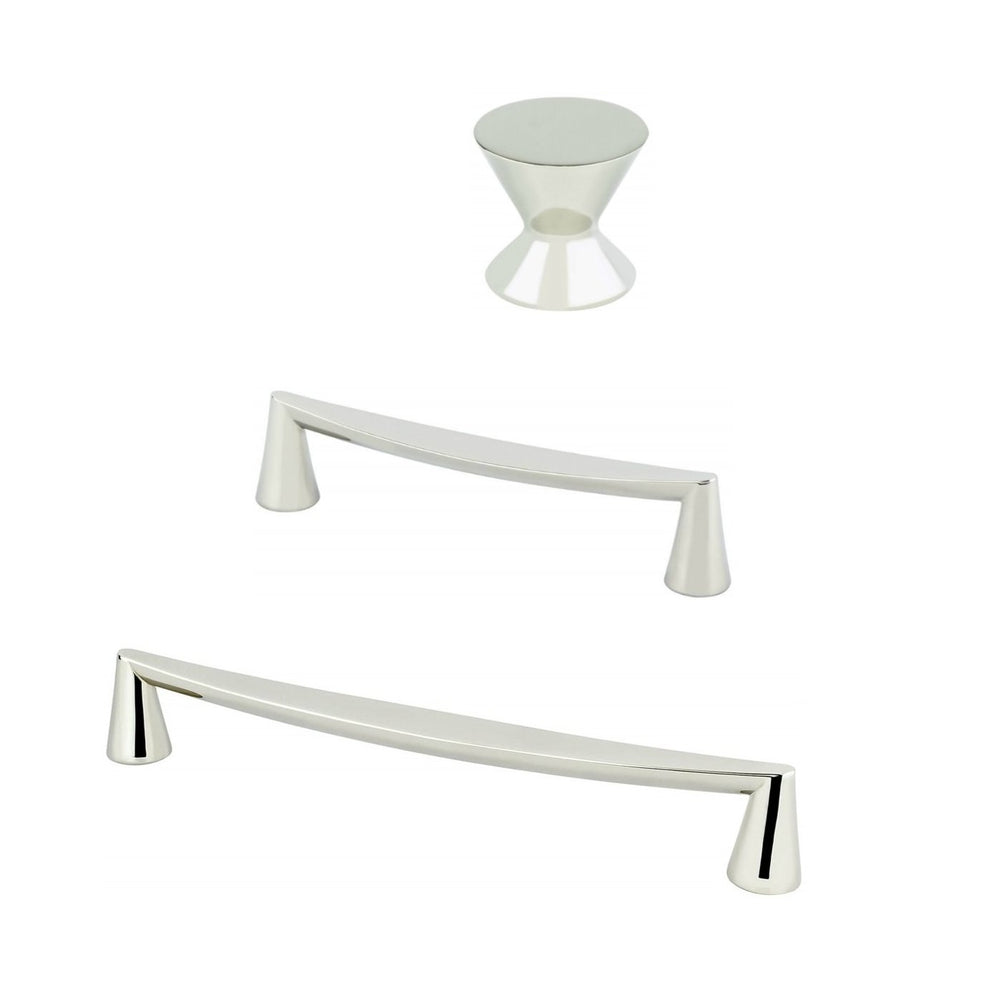"Polished Nickel ""Core"" Drawer Pulls and Knob - Brass Cabinet Hardware"