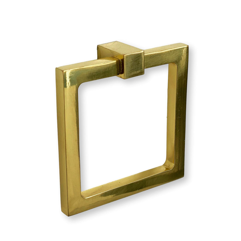 Zimi Square Ring Pull in Polished Brass