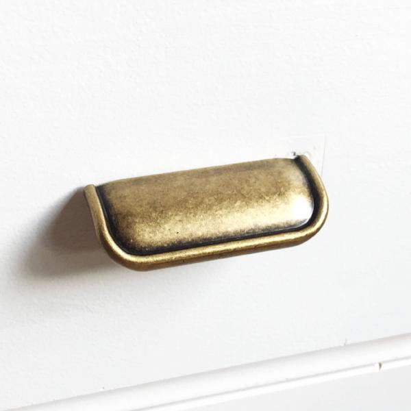 "Tab Finger Drawer Pulls ""Ella"" in Antique Brass"