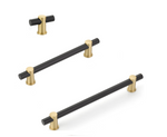 "Satin Brass and Matte Black Round T-Bar ""Fonce"" Cabinet Knobs and Drawer Pulls"