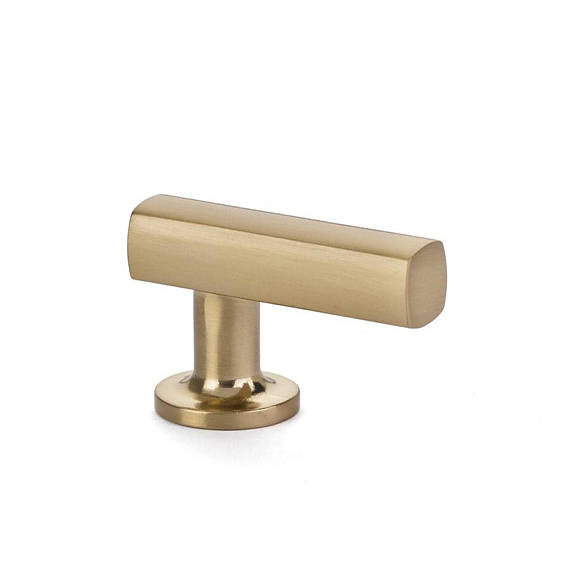Freestone Cabinet T-Knob in Satin Brass-Cabinet Hardware - Brass Cabinet Hardware
