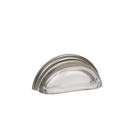"Lew's 3"" Glass Cabinet Cup Pull (Clear/Brushed Nickel) [26-101]"