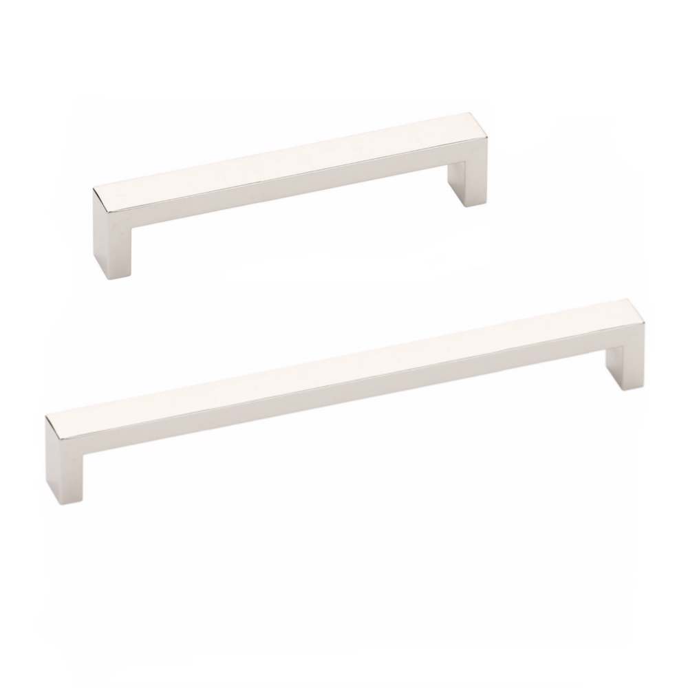 Modern Rectangular Keaton Brass Drawer Pulls in Polished Nickel - Brass Cabinet Hardware