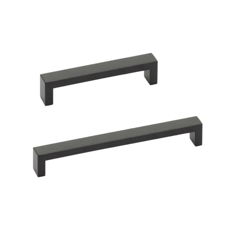 Modern Rectangular Keaton Drawer Pulls in Matte Black - Brass Cabinet Hardware