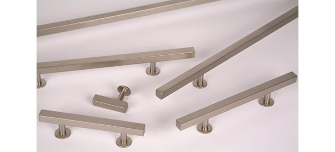 "Lew's Hardware Nickel 11-105 Bar Series Handle, 12"" or 15"" Centers Adjustable, 18"" Length - Brass Cabinet Hardware"