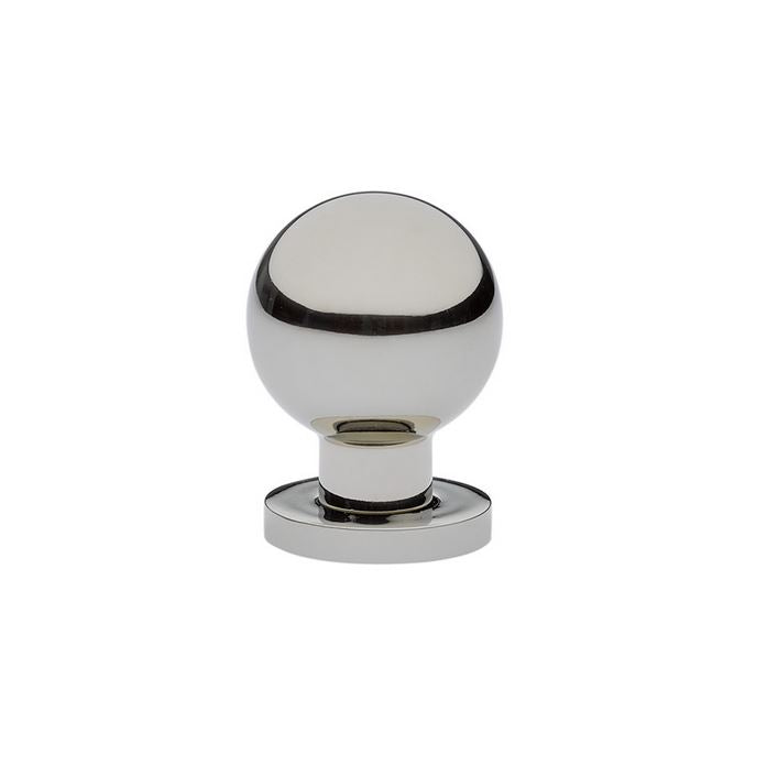 Luxe Contemporary Polished Nickel Round Ball Knob - Brass Cabinet Hardware