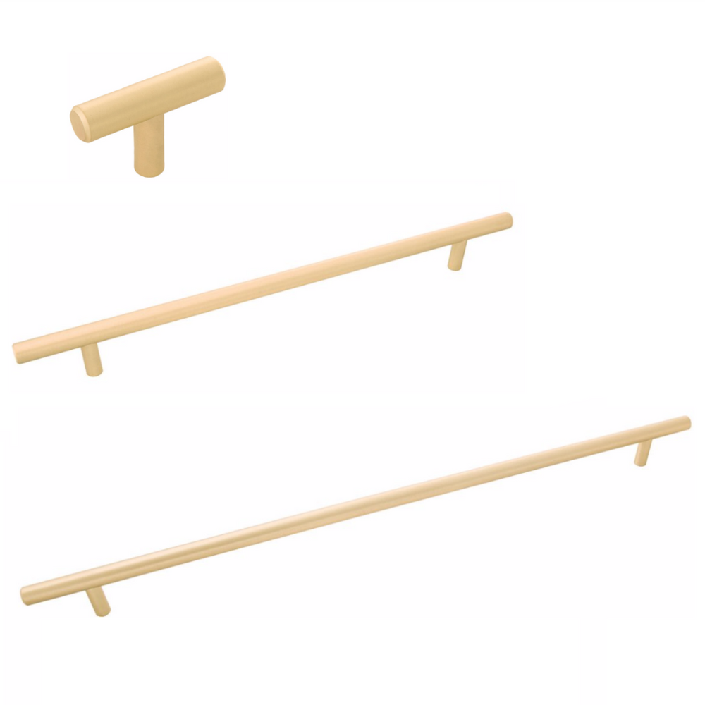 "Long Brass ""Milano"" Pulls - T-Bar Drawer Handles in Satin Brass - Brass Cabinet Hardware"