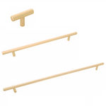 "Long Brass ""Milano"" Pulls - T-Bar Drawer Handles in Satin Brass"