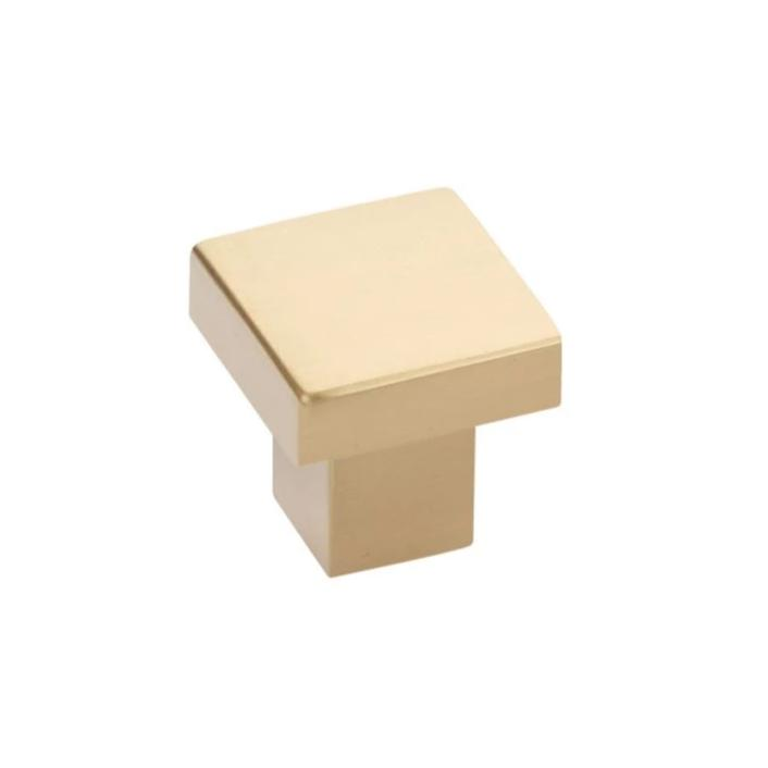 Modern Rectangular Hunter Finger Pull in Satin Brass - Brass Cabinet Hardware