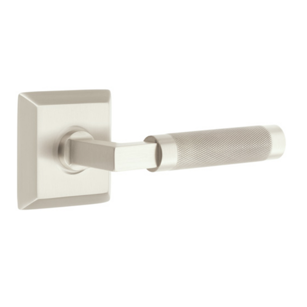T-Bar Knurled SELECT Satin Nickel Door Lever w/ Quincy Rosette