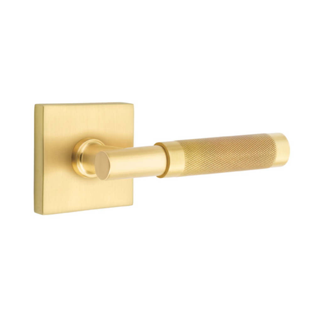 T-Bar Knurled SELECT Satin Brass Door Lever w/ Square Rosette