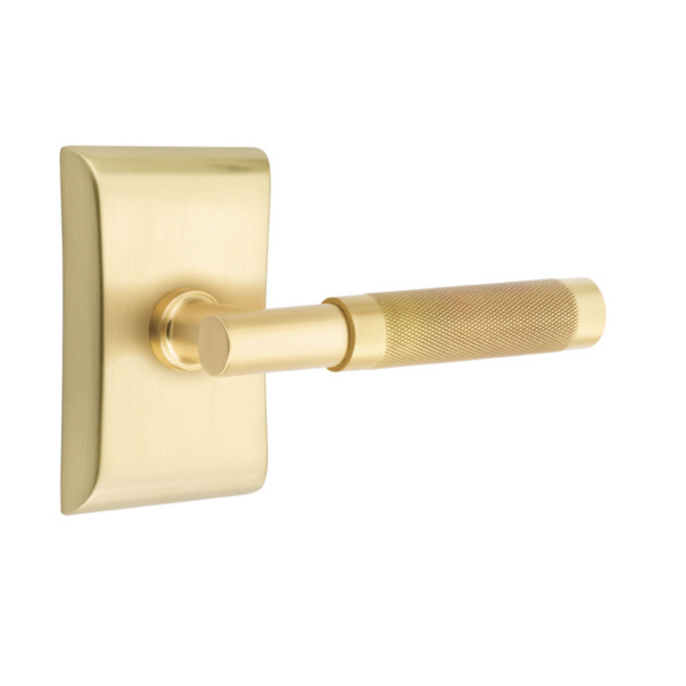 T-Bar Knurled SELECT Satin Brass Door Lever w/ Neos Rosette